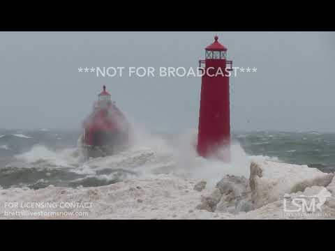 2-24-19 Grand Haven, MI Lighthouse Huge Waves - High Winds