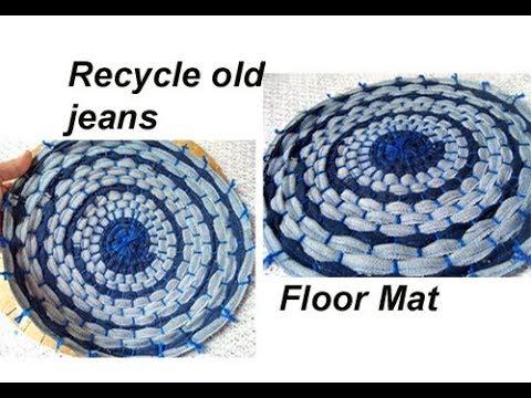 Recycle resuse old jeans /demin DIY handmade floor mat /door mat /carpet/area rug