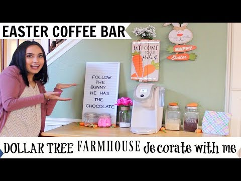 Decorate My Coffee Bar With Me Using ONLY Dollar Tree Easter Decorations!!! FARMHOUSE INSPIRED!