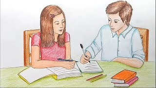 How to draw scenery of brother and sister studying together