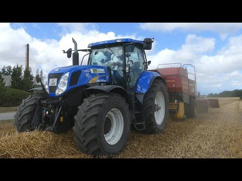 New Holland T7060 Baling w/ NH BB940 Big Baler &  POMI Baling Wagon | Harvest 2018 | DK Agri