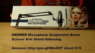 neewer microphone suspension boom scissor arm stand unboxing
