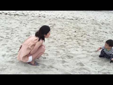 Juwon playing at Cape Cod (Ocean Mist Beach hotel)