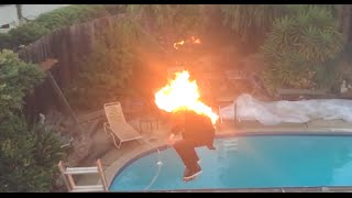 Skater Sets Himself On Fire And Skates Off His House