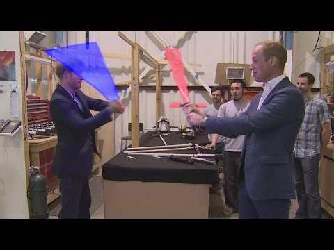 Download Youtube: See William and Harry's royal lightsaber battle