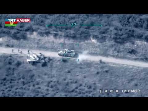 Azerbaycan'ın, Ermenistan'a ait tank ve zırhlı araçları imha ettiği görüntüler