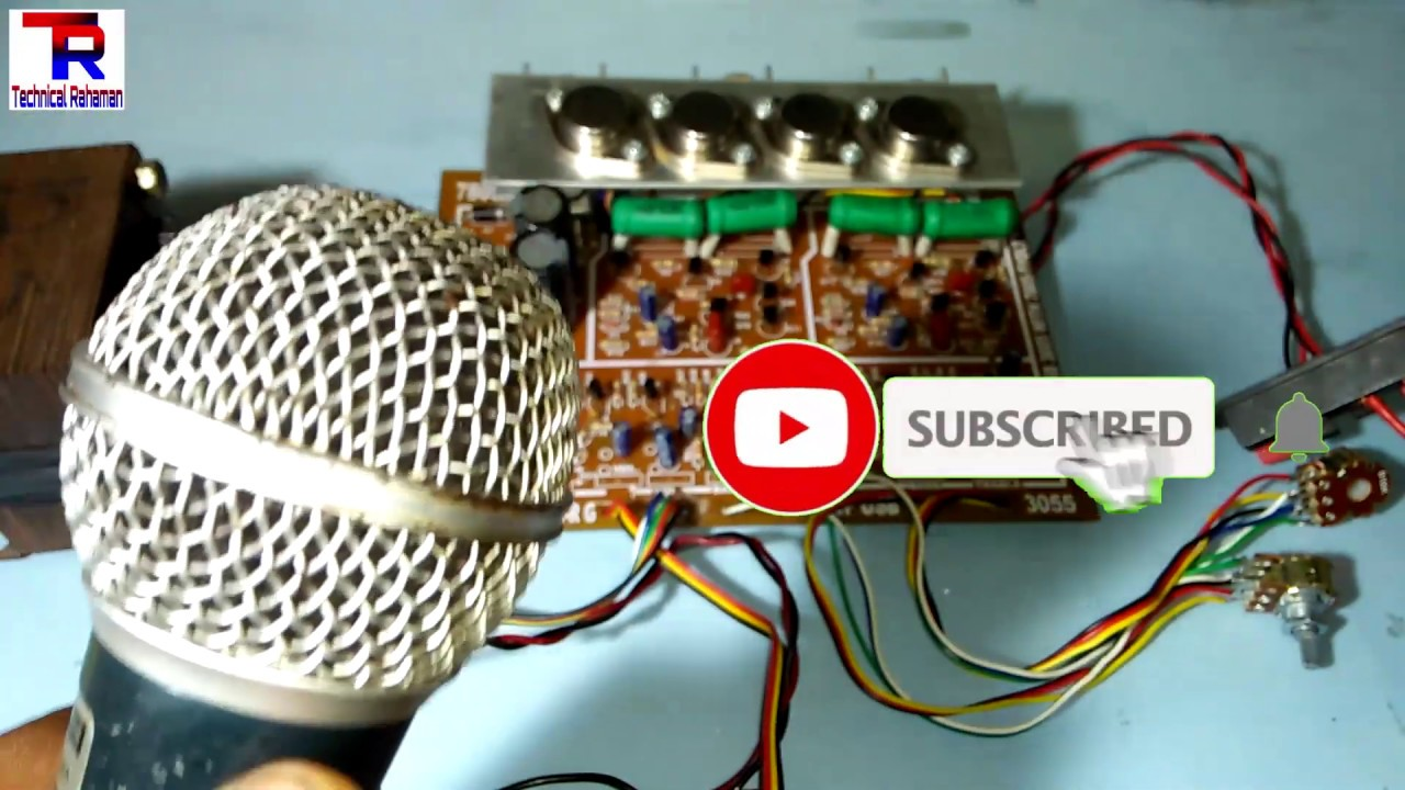 How to Connect Microphone 🎤 in 2n3055 transistor audio amplifier kit ?  (100% Working Korba )