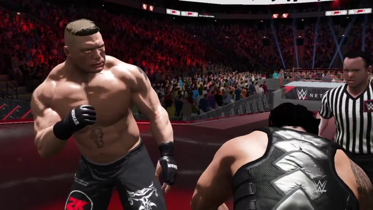 Download WWE 2K17 Brock Lesnar Attacks Roman Reigns on Stage!!!