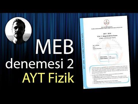 MEB AYT Denemesi - 2 Fizik Çözümleri ve PDF (2. Değerlendirme Sınavı)