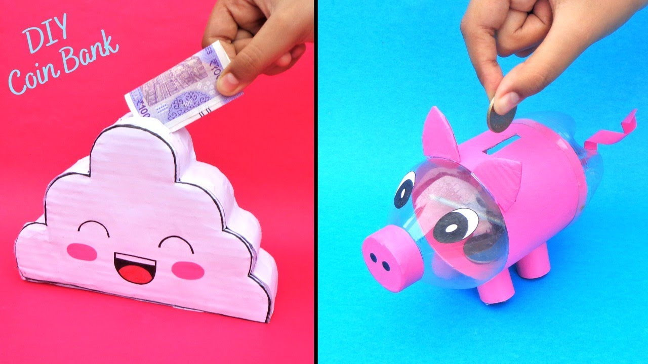 How to make Coin Bank with Cardboard & Plastic Bottle/Best out of waste/DIY 2 Cute Money Storage