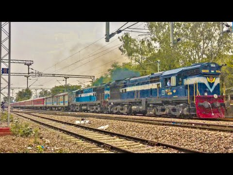 Swarna Jayanti Rajdhani Express With Resurgent Alco Twins | Vatva WDM3A Beasts.