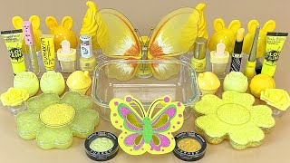 Yellow BUTTERFLY SLIME Mixing makeup and glitter into Clear Slime ASMR Satisfying Slime Videos 1080p
