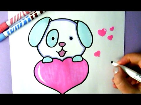 how to draw a cute puppy with a love heart youtube Cute Dog Clip Art Puppy Clip Art