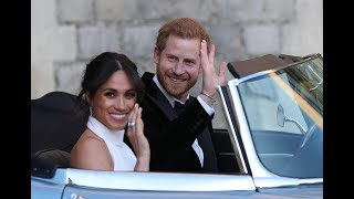 Meghan Markle wears Stella McCartney as she rides off to second reception with Prince Harry