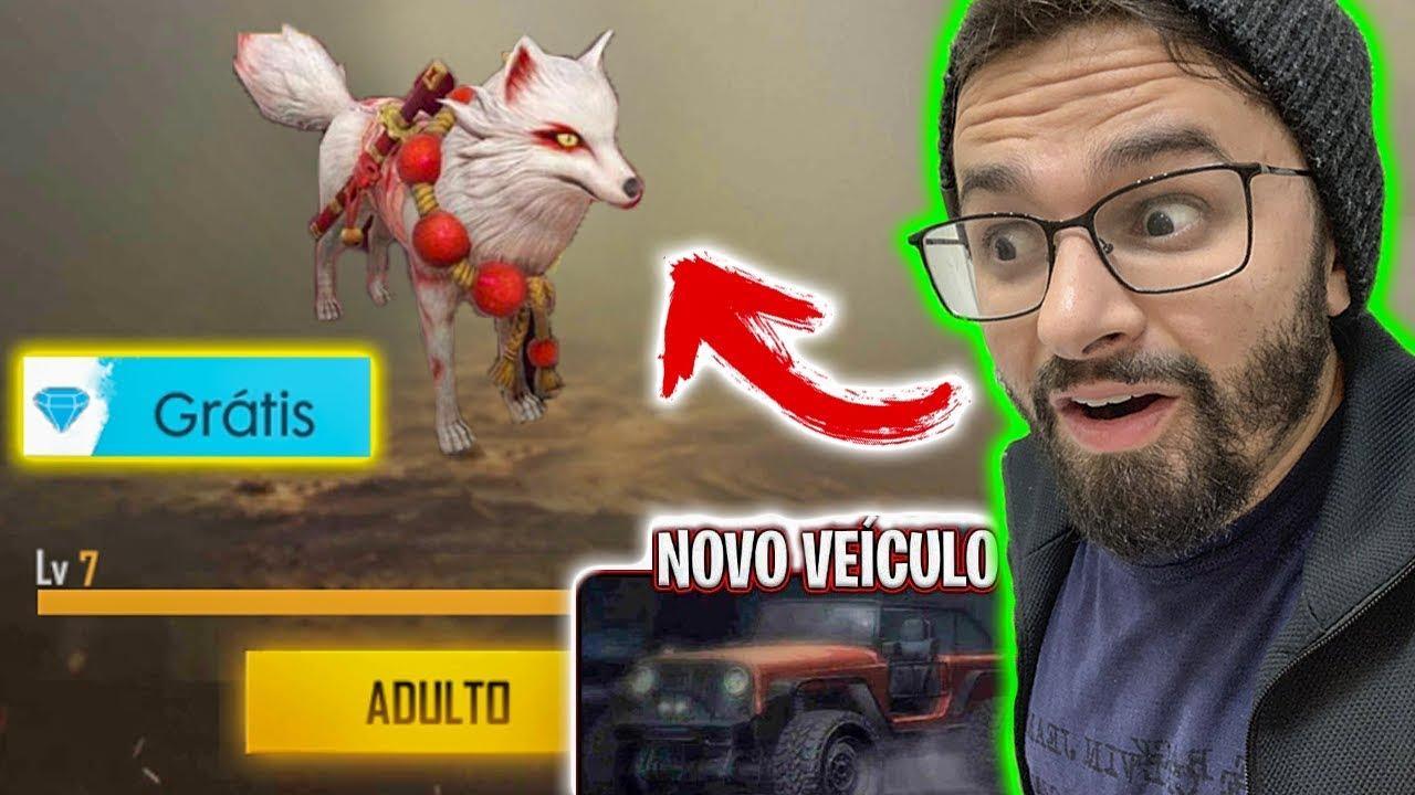 NOVO PET RAPOSA VAI TE DEIXAR INVENCÍVEL no FREE FIRE JUNTO COM O NOVO VEÍCULO!!