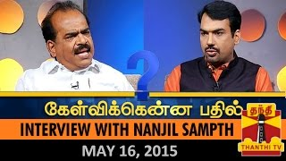 Kelvikkenna Bathil : Exclusive Interview with Nanjil Sampath (16/05/2015)- Thanthi TV