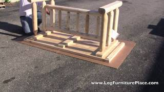 Rustic Natural Cedar Harvest Log Dining Table | Log Table Assembly