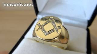 Masonic Ring Gold & Diamonds. Square & Compasses