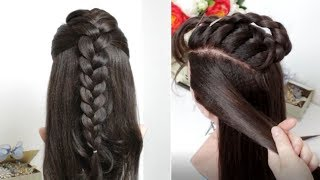 Half Up Half Down Hairstyle For Long Hair. Fishtail Into French Braid