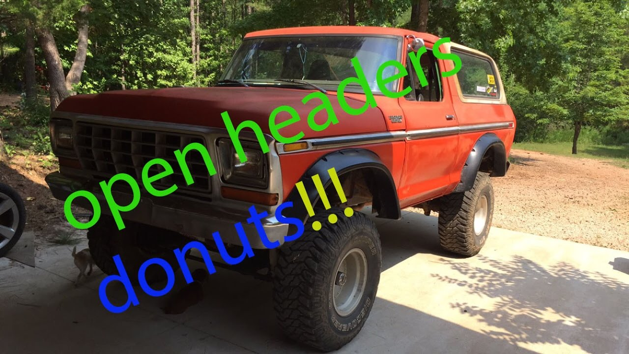 1979 bronco custom with a 351 modified open headers doing donuts!!!
