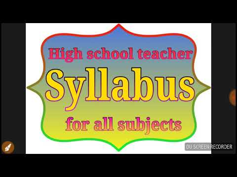 1  High school teacher syllabus (for all subjects)