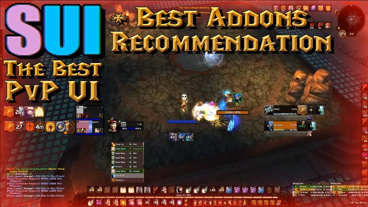 #AddonTalk #2 - BEST PvP UI - SUI   Best Addons Combo for Arenas / BGs in  Legion 2018
