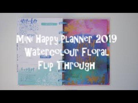 Happy Planner- Mini Watercolour Floral 2019 Flip Through
