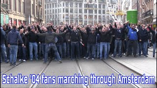 Schalke '04 fans marching through Amsterdam