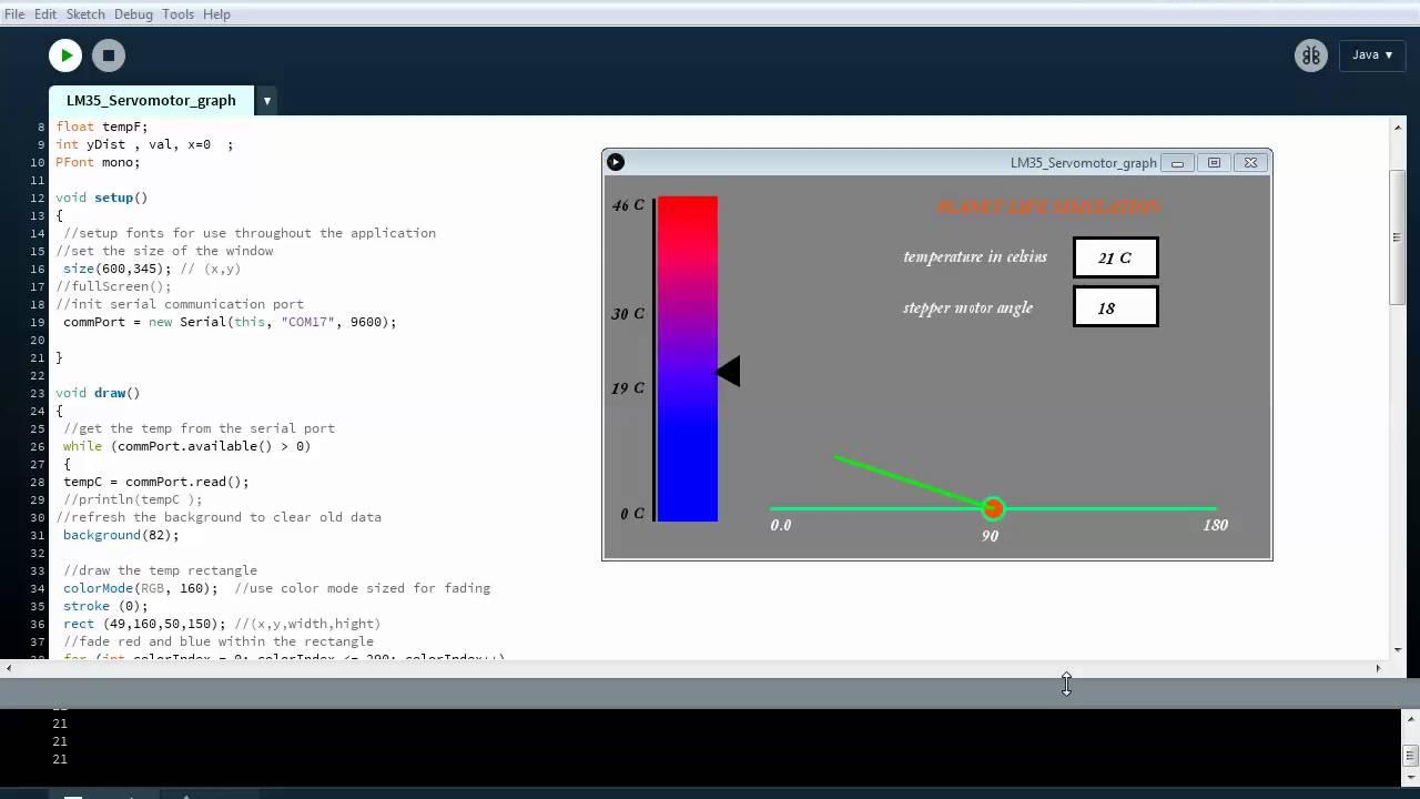 Arduino and processing GUI for servo motor and LM35 temperature sensor