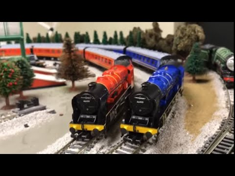 Model Railroad Toy Train Track Plans -Royal Scot vs Flying Scot Bachmann Trains Filmed with iPhone 7