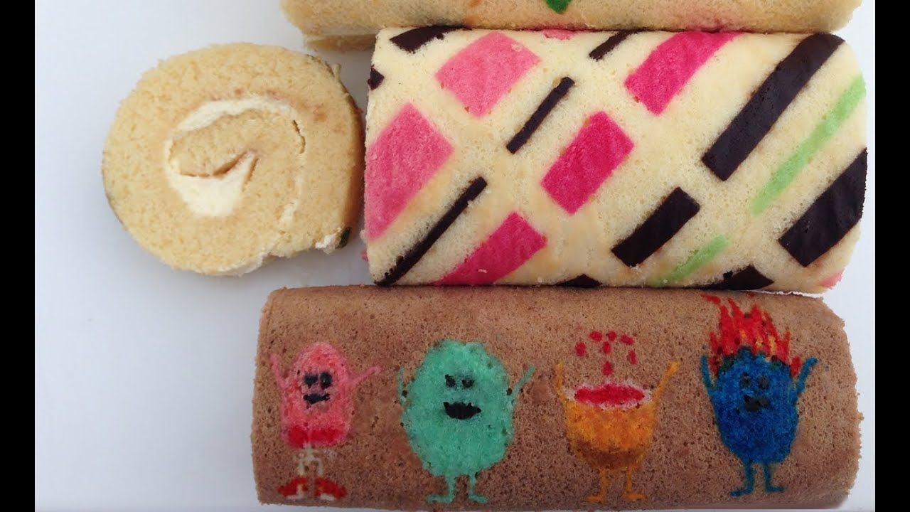 Roll Cake Design Template : Patterned Roll Cake Recipe HOW TO COOK THAT Ann Reardon ...
