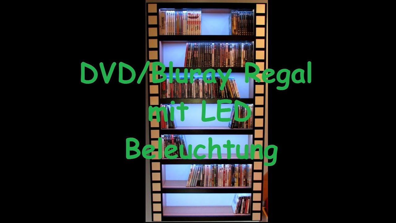 dvd bluray regal 2 0 selfmade with led stripes youtube. Black Bedroom Furniture Sets. Home Design Ideas