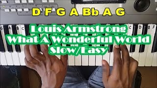 How to Play What A Wonderful World by Louis Armstrong - Slow Easy Piano Tutorial