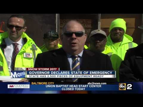 Gov. Larry Hogan declares State of Emergency ahead of snow storm