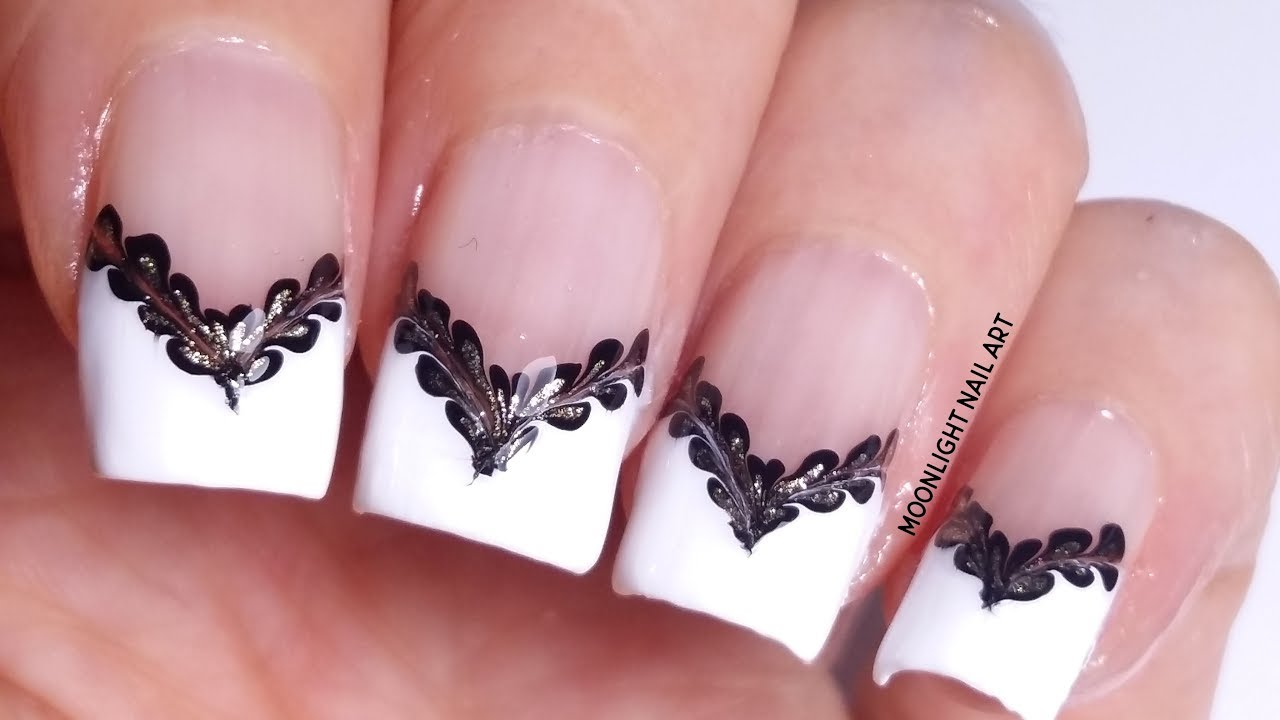 French Manicure With Black Gold Drag Marble Decoration Youtube