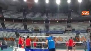 Italia Volley Rio 2016, Juantorena prova un colpo speciale in allenamento