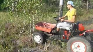 Самодельный трактор на Базе мотоблока с прицепом Первое испытание