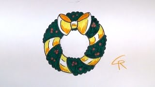 Learn How to Draw a Christmas Wreath -- iCanHazDraw!