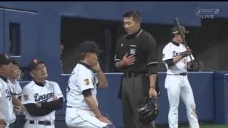 阪神タイガース渡辺亮による死球に激昂する谷繁