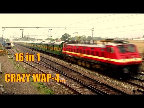 16 in 1 Dangerously Fast Cracking Speed Attacks By WAP-4 Locomotive in India's Busiest Rail Section