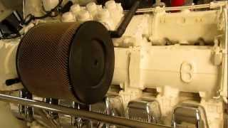 2735 hp V12 MTU 4000 series engine-room start up on 121' yacht.