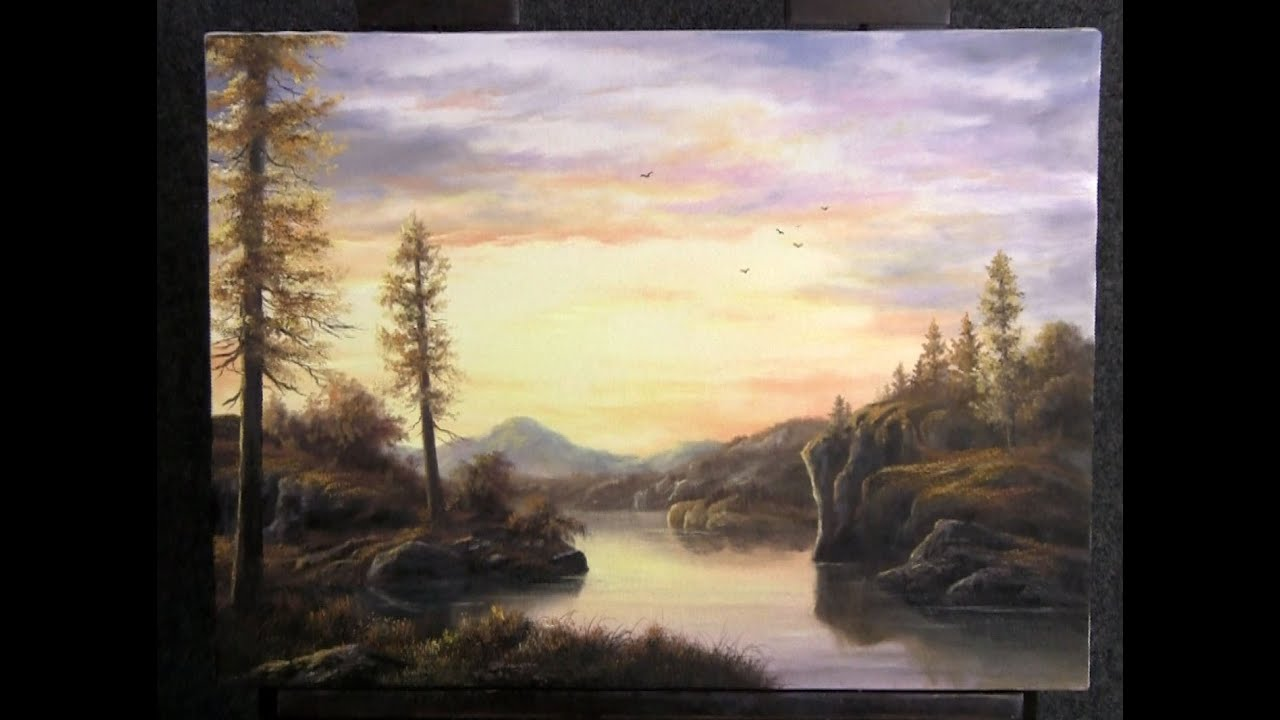 Paint with kevin hill sunset lake funnycat tv for Oil painting lessons near me