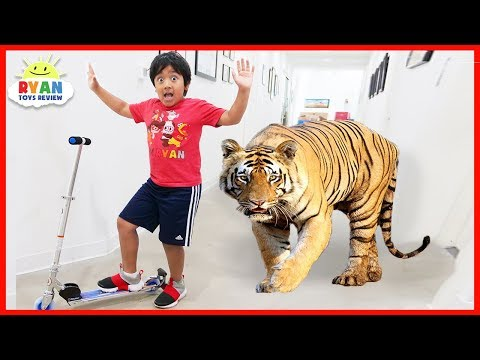 Ryan Pretend Play with Zoo animals for Children Hide and Seek