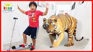 Ryan Pretend Play with Zoo animals for Children Hide and Seek!!!