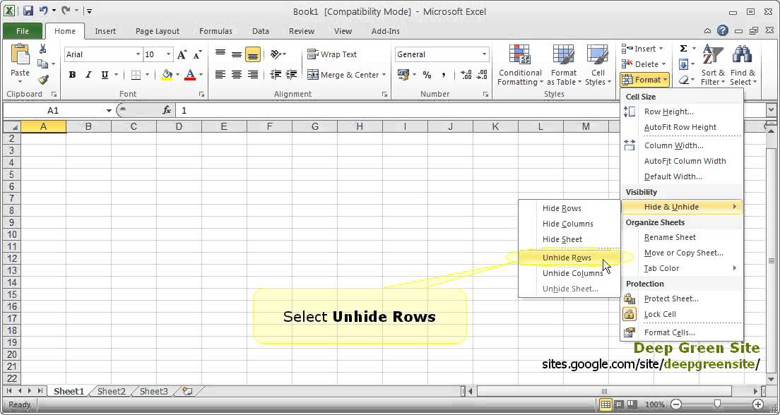 how do i unhide cells in excel 2010