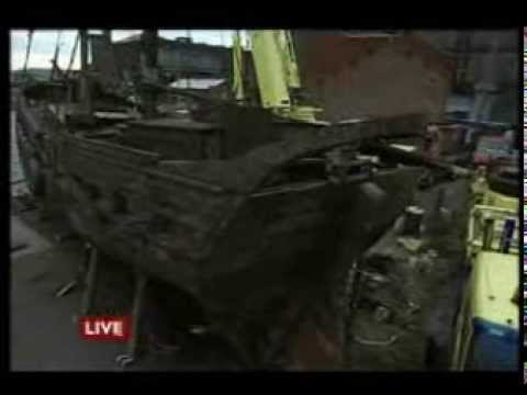 BBC News Baltic Trading Ship Glaciere Salvaged from, Liverpool Bay, England