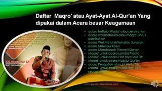 Kumpulan Maqro' atau Ayat Ayat Al Qur'an Yang dipakai dalam Acara besar Keagamaan