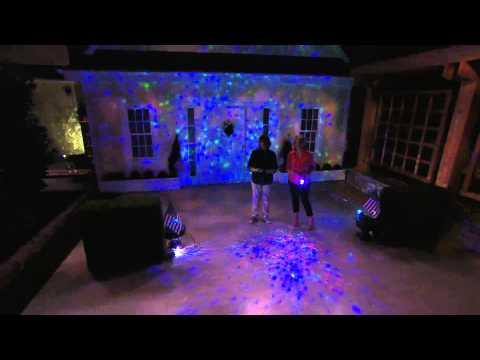 set of 2 indoor outdoor kaleidoscope lightshow projectors with jill. Black Bedroom Furniture Sets. Home Design Ideas