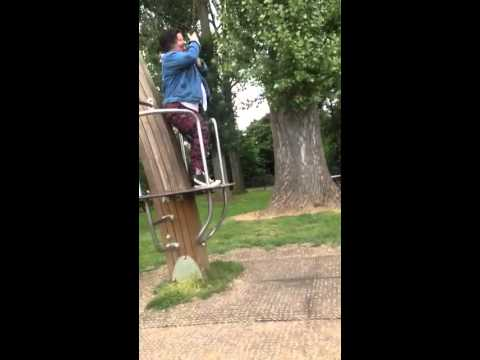 Karen Miles falls off zip wire