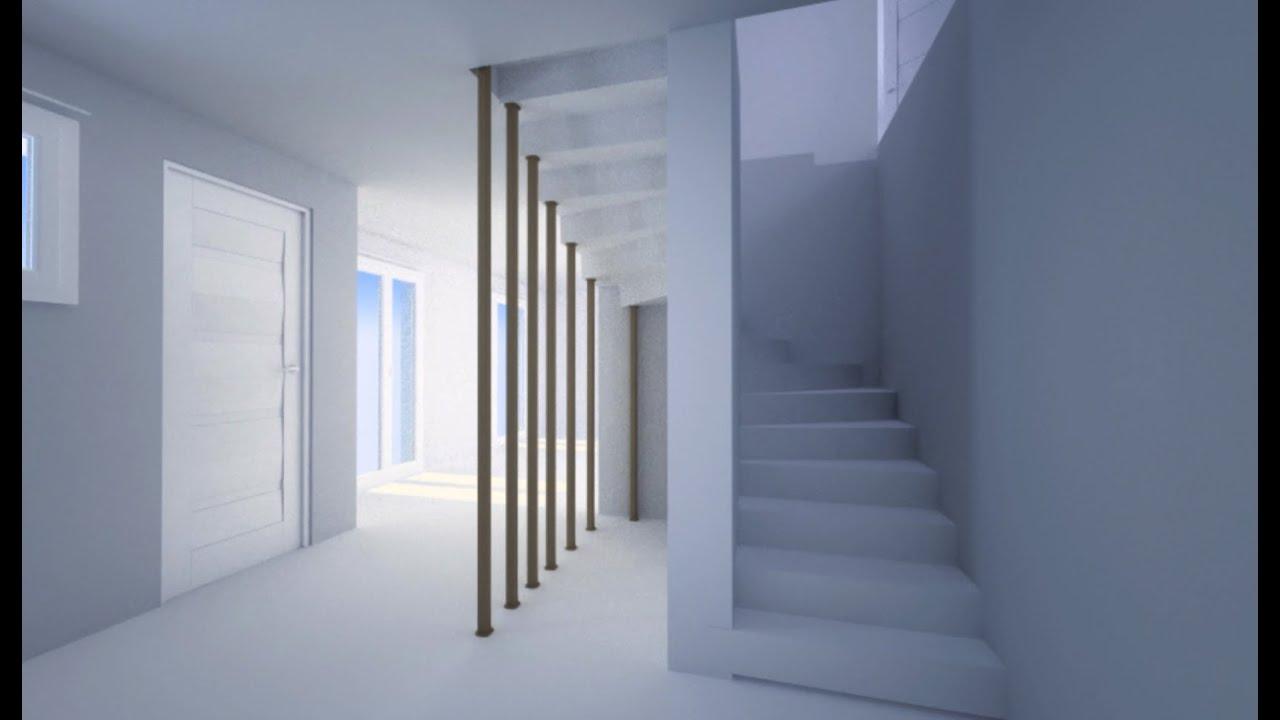 Installer un esaclier b ton en kit en maison neuve en 3d - Escalier beton double quart tournant en kit ...